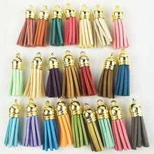 Borla para chaveiro de couro, 60 peças, 38mm, para celular, alças, joias, franja de fibra, borla de camurça, diy, pingente, achados de joias de verão