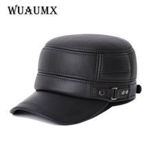 Wuaumx новый Коускин Натуральная кожа бейсболки для мужчин теплый earflap шляпа Кепка Воловья кожа коровы плоской вершине snapback шляпа для мужчины
