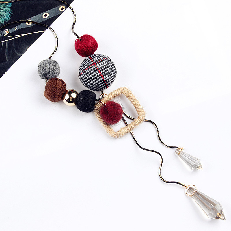 Wool Weaving Balls Crystal Long Necklaces & Pendants Fashion Jewelry Winter Sweater Necklace Christmas Gifts