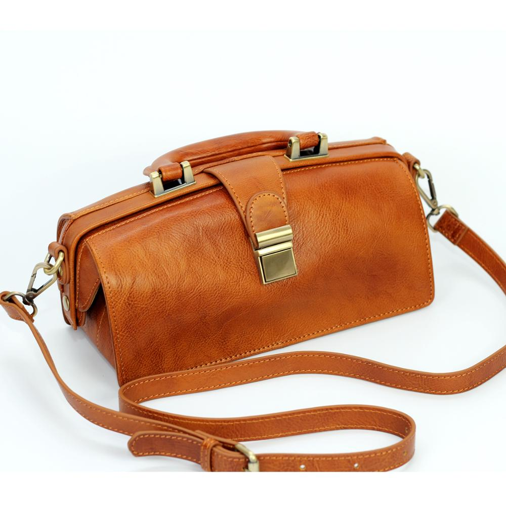 XHTY leather doctor bag first layer leather vegetable tanned retro handbag female bag leather mouth gold bag