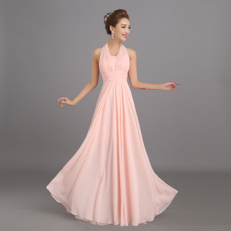 New Halter Soft Pink Long Chiffon Bridesmaid Dresses Cheap Wedding