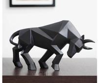Абстрактная Черная корова скульптура Геометрическая Смола бык статуя дикой природы Декор подарок ремесло орнамент аксессуары интерьер