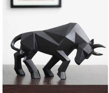 Geometric Cattle Statue OX Bull Sculpture Ornament Abstract Animal Figurines Room Desk Decor Home Decoration Accessories Morden(China)