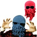 Hot Sale Novelty Handmade Knitting Wool Funny Beard Octopus Hats Caps Crochet Knight Beanies For Men Women Unisex Gift BZ850706