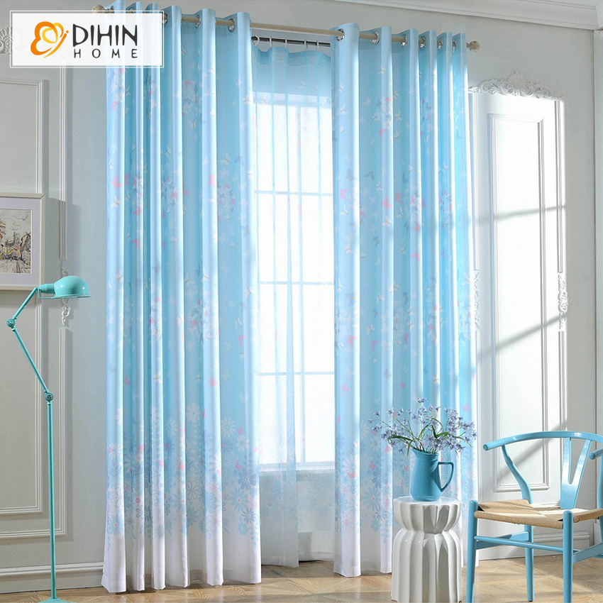 dihin home light blue buttererfly pattern blackout curtain window treatment 1 panel custom made curtains