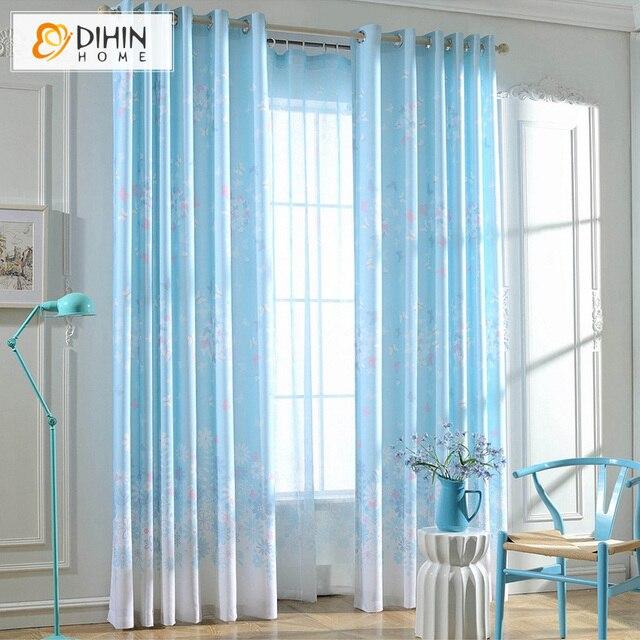 dihin thuis lichtblauw buttererfly patroon verduisteringsgordijn venster behandeling 1 panel custom made gordijnen