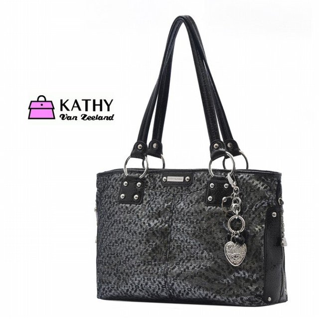 Kathy Van Zeeland Black Leopard Print Handbag Ol Tote Bag Shoulder