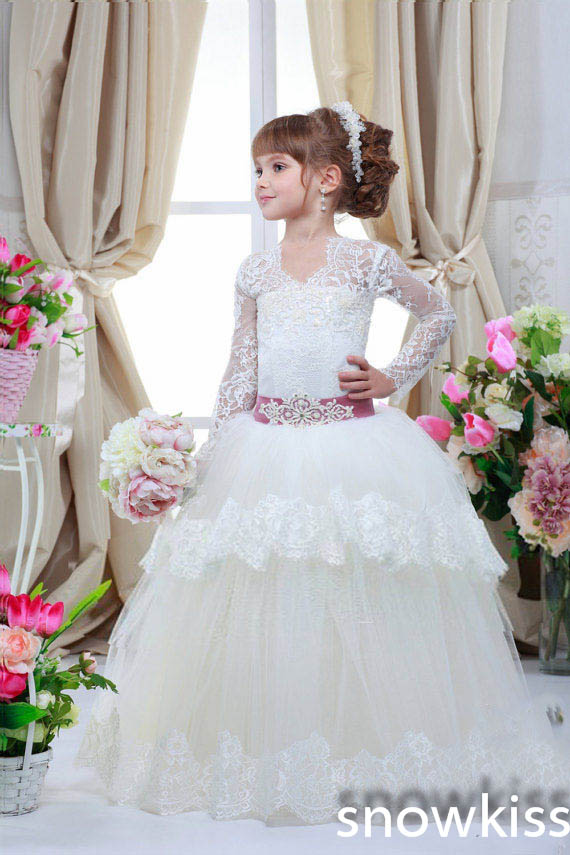 elegant V-neck sheer lace long sleeves flower girl dress holy first communion dresses tiered ball gown white wedding gowns black wave point lace up v neck long sleeves chiffon blouse