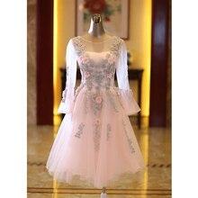 새로운 핑크 전체 플레어 슬리브 짧은 섹시 레이디 소녀 여자 공주 들러리 연회 파티 공 드레스 가운