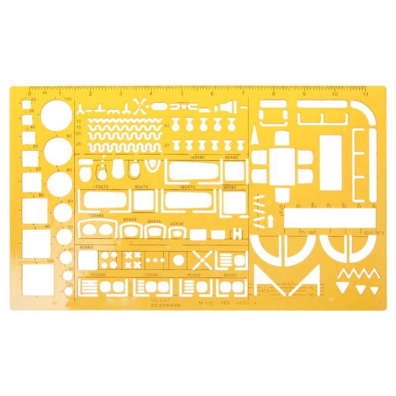 K Resin Ruler Professional Universal Furniture Construction Architect Template Ruler School Accessories
