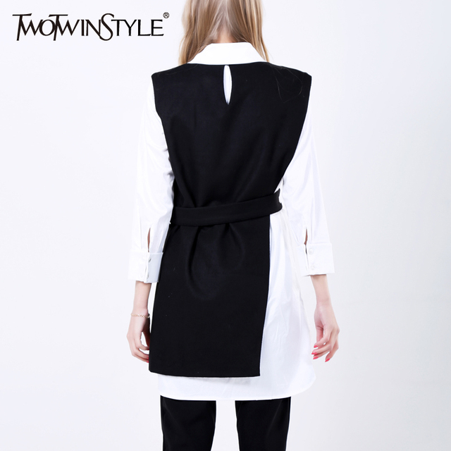 [TWOTWINSTYLE] 2017 Spring New Korean Irregular Brief Long Vest Women Outwear Streetwear Clothing