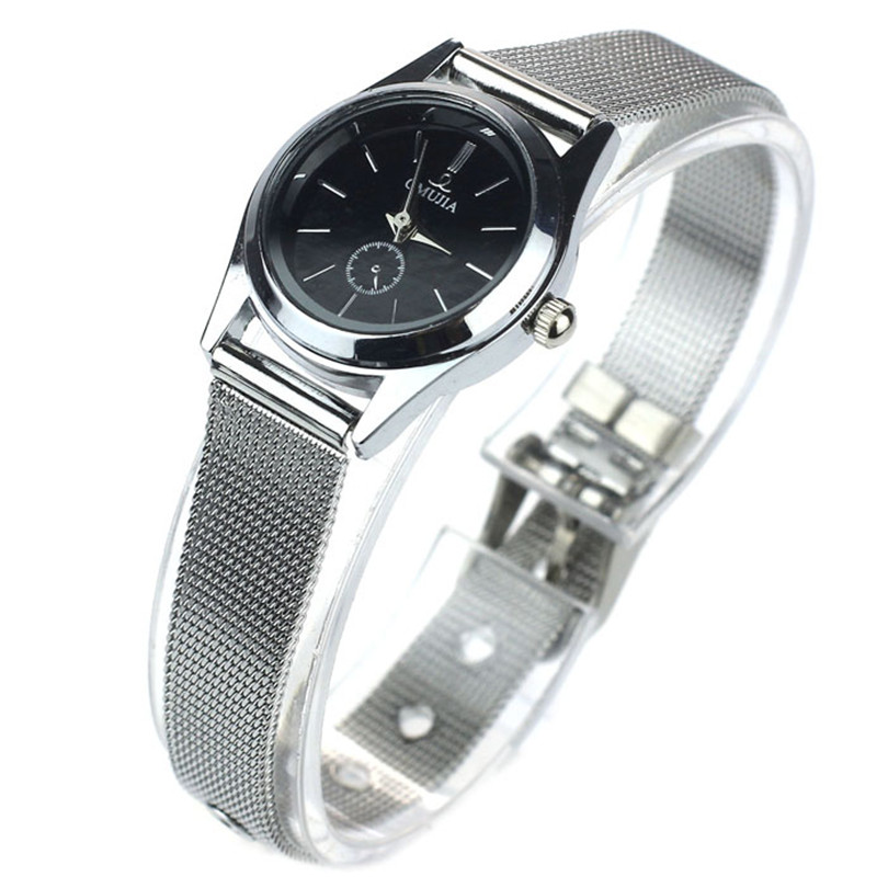 luxury brand women's watch 2018 Black Dial Stylish Couple Lover Stainless Steel Quartz Wrist Watch Women Ladies Watch Gifts F75 daybird stainless steel quartz wrist watch black 1 x lr626
