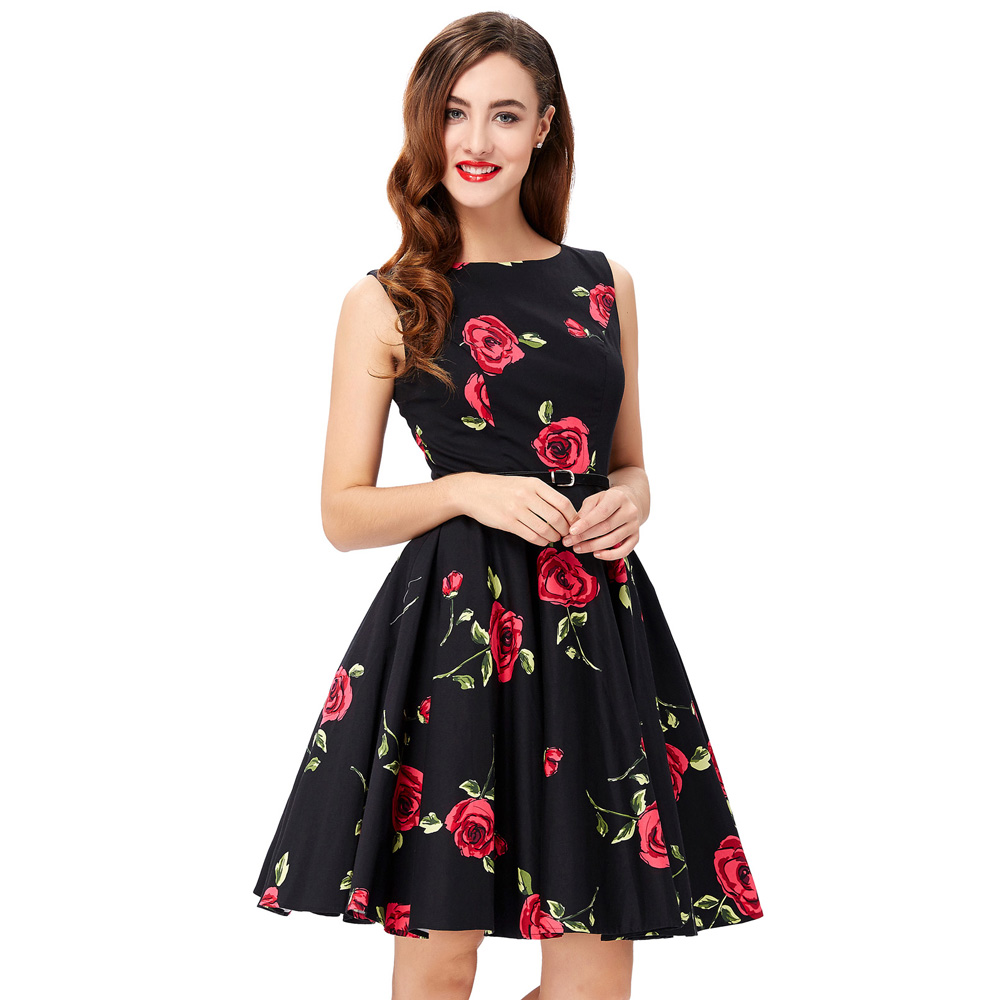 Assez 2017 Summer Dresses Women Pinup Floral Retro Robe Dot Rockabilly  IB18