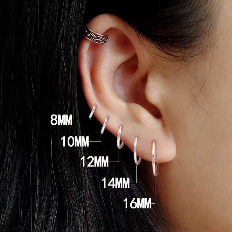 CANNER 1 Pair Small Hoop Earrings 925 Sterling Silver Circle Round Huggie for Women Men Ear Ring Bone Buckle