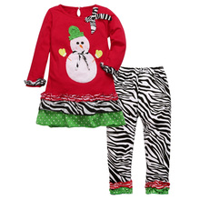 2PCS Baby Girls Novelty Christmas Clothes Snowman Tops Dress Striped Pants Outfit Cartoon Halloween Clothing Set