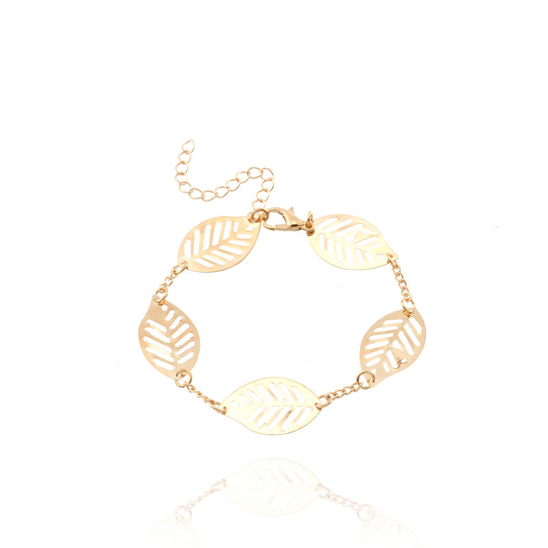 Classical Gold Silver Leaf Bracelet For Women Five Pieces Of Hollowed Out Leaves Bangle Design Lady Girl Favourite Jewelry