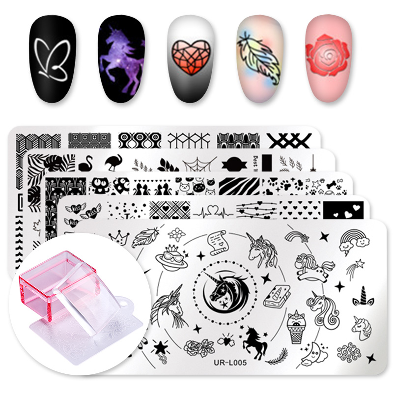 UR Sugar 5Pcs Rectangle Nail Plates + Silicone Jelly Head Stamper Scraper Stamping Template Image Plates Nail Stamp Plate Tool