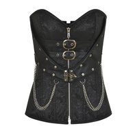 Vintage Steel Boned Corset Women Steampunk Metal Chain Waist Control Gothic Corsets Sexy Satin Jacquard Corselet Plus Size 6XL