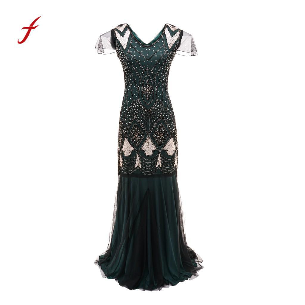 Gatsby blu 2018 Feitong Donne Arrivo oro Vintage Vestito 1920 Fringe Bead  Nuovo Beige Flapper Partito Abbellito verde rosso Paillettes ... 6a2a432e186