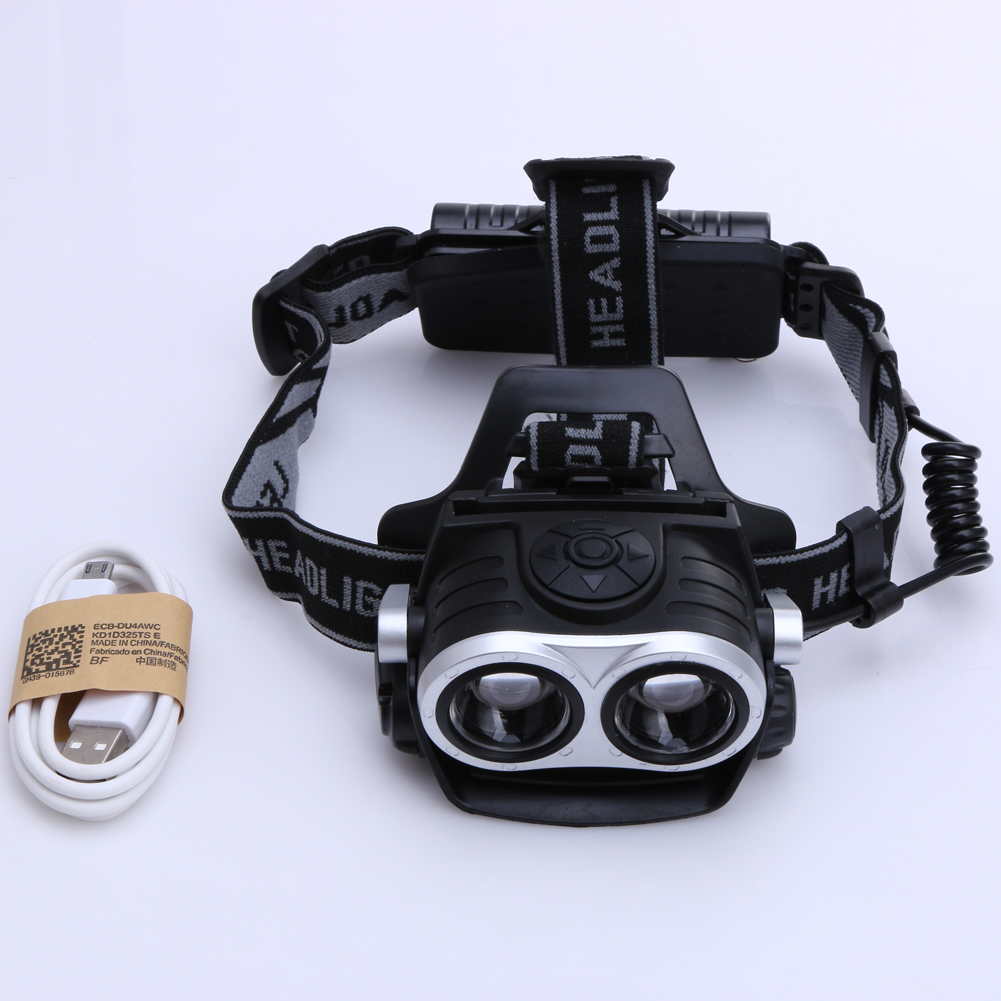 10000LM 2-LED USB Rechargeable Headlight  Telescopic Zoomable Head Lamp Outdoor Hiking Searching Fishing Torch Light 3 Modes high quality 2 mode power 5w led headlight 48000lx outdoor fishing headlamp rechargeable hunting cap light