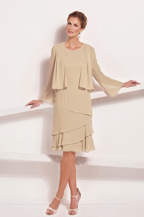 Chiffon Short Knee Length Mother Of The Bride Dresses With