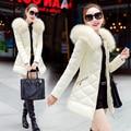 2016 Inverno Mais Recente Moda Coreano Senhoras Quentes Casaco de Algodão Grosso jaqueta de pato Para Baixo Casaco de gola de Pele Com Capuz Grande metros Estudantes G0560