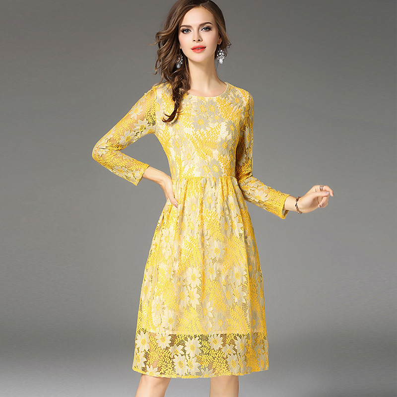 b49f5aa196671 US $26.99 |2017 New Summer Fashion Hollow Out Elegant Yellow Lace Elegant  Party Dress High Quality Women Long Sleeve Casual Dresses M17906-in Dresses  ...