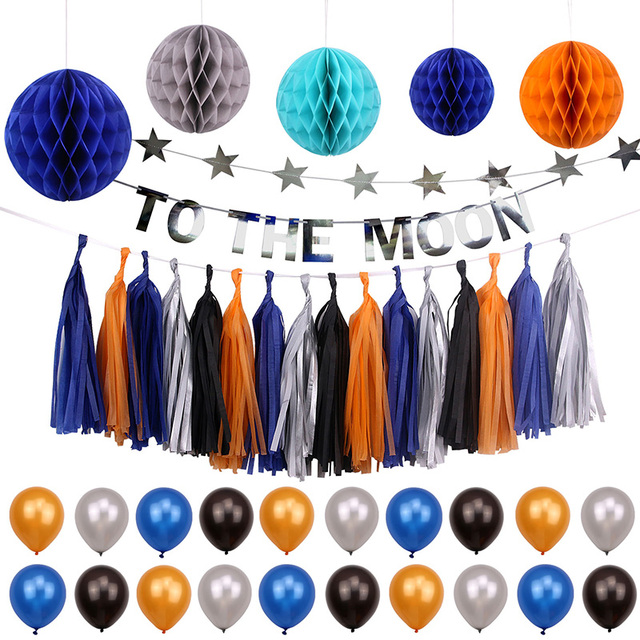 Outer E Theme Party Decoration Kids Boy Birthday Supplies Baby Shower Paper Tel Bunting Banner Kits
