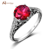 Romantic Wedding Ring 100 Handmade Real 925 Sterling Silver Created Red Ruby Ring Attractive Design Crystal