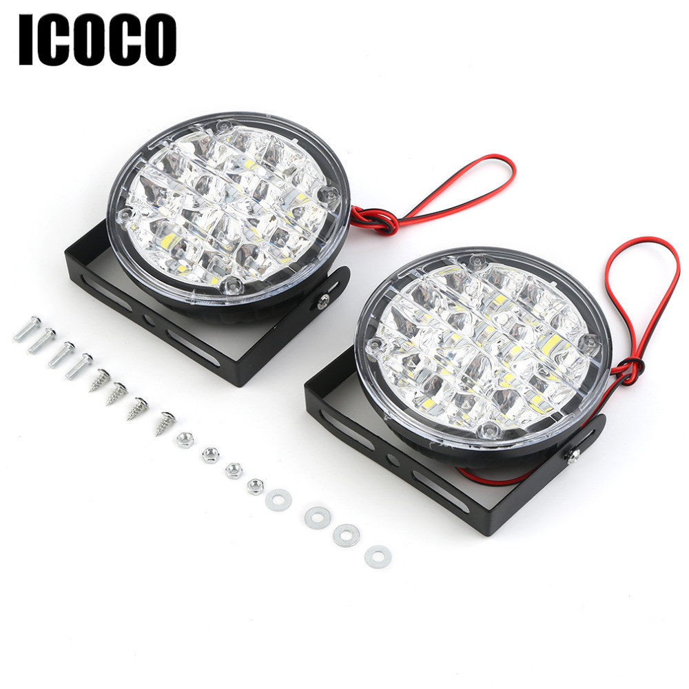 Genuine ICOCO 2X 18 LED 12V Round Car Motorcycle Fog Light Head Lamp Daytime Running Lights Led DRL Fog Lamp Warning Fog Light