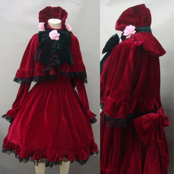Anime  Rozen Maiden Pure Ruby Cosplay Shinku Red dress Halloween Costume Custom