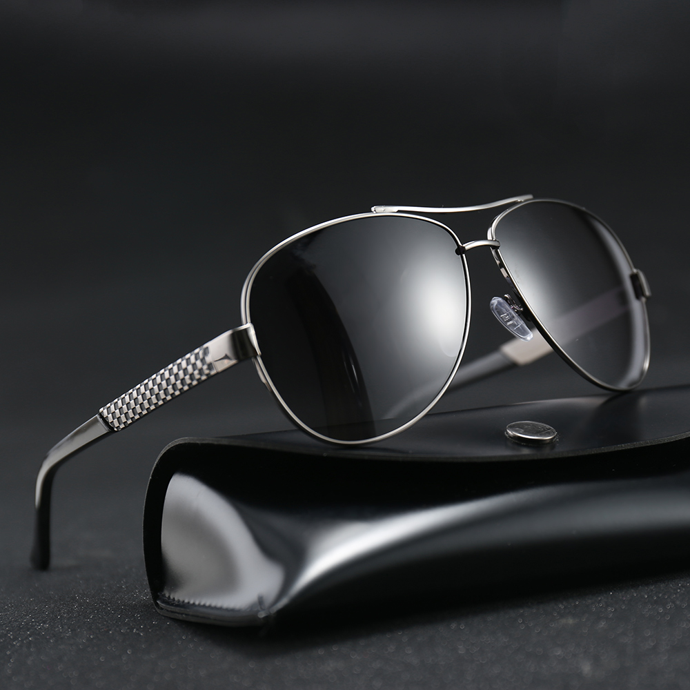 MARC Aviation Metail Frame Quality Oversized Currency Spring High quality TAC Men Sunglasses Polarized Brand Pilot Male Driving