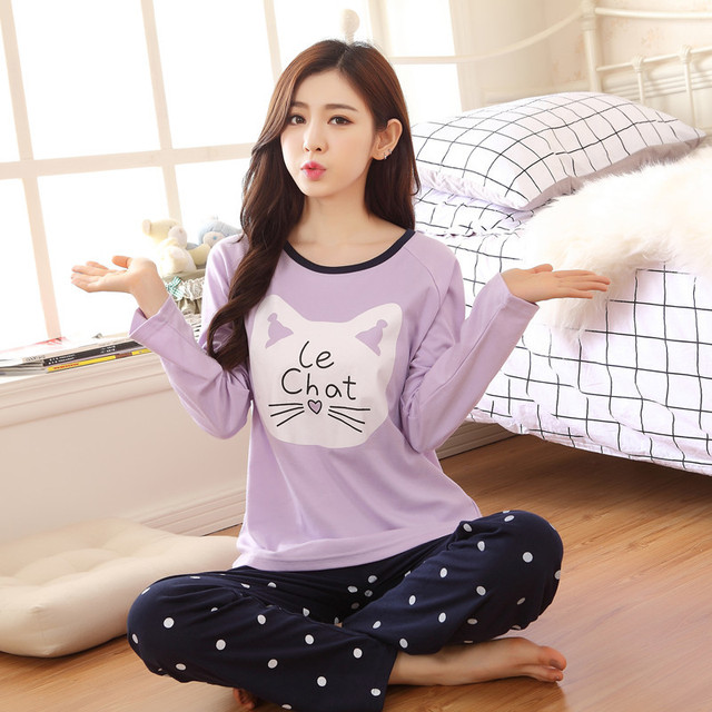 ba0611c751 Free Shipping Women Pyjamas Cotton Clothing Long Tops Set Female Pyjamas  Sets Night Suit Sleepwear Women