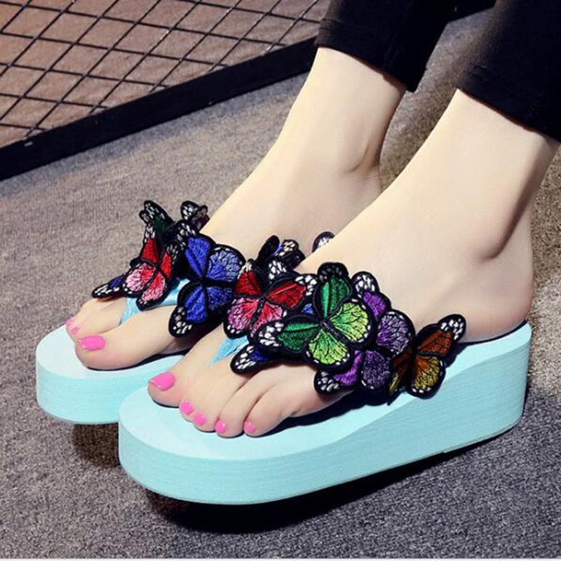 2017 New Wedge Flower Sandals Garden Shoes Handmade Erfly Slippers Hawaiian Beach Summer Women Flip Flops K66 In Middle Heels From On