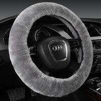 Luxury Wool Car Steering Wheel Covers Winter Genuine Australia Wool Fur Auto Seat Covers Interior Accessories