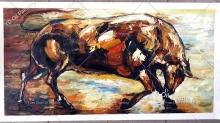 High Skills Artist 100%Hand-painted Abstract Bull Oil Painting On Canvas Handmade Bull Painting For Office Decoration цена