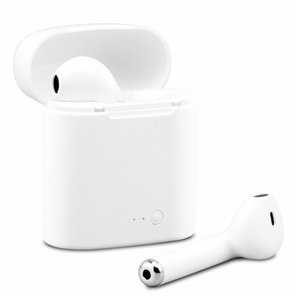 10pcs lotFree Shipping i7s Bluetooth Earbuds Wireless Headphones Headsets Stereo Earphones With Charging Box for ios