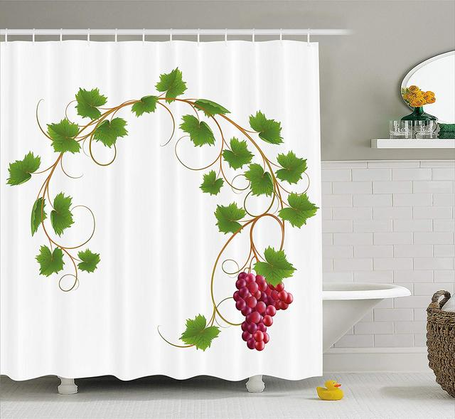 Grapes Home Decor Shower Curtain Curved Ivy Branch Deciduous Woody Wines Seed Clusters Cabernet Kitchen Fabric Bathroom