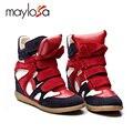 2015 Nuevo de las mujeres zapatos Casuales zapatos de Cuero para las mujeres de Isabel Tamaño (35 ~ 42) Aumento de la Altura de Invierno Primavera zapatos