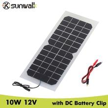 SUNWALK 10W 12V Monocrystalline silicon Semi flexible Solar Panel with Battery Clip Transparent 12V Battery Solar