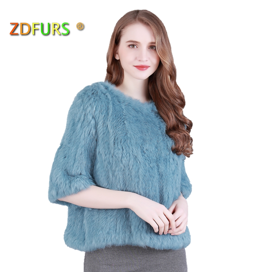 ZDFURS * real  rabbit fur knitted fur jacket coat fur o-neck pullover knitted fur coat outerwear ZDKR-165008