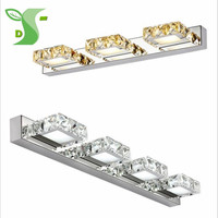 LED Crystal Wall Lamp 9W 12W AC85 265V with IC Driver Bathroom Lamp Round Square Crystal Mirror Lamp Waterproof|LED Indoor Wall Lamps|Lights & Lighting -