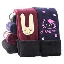 Funfeliz 2018 Autumn Winter Girls Leggings Thickening Warm Fleece Kids Legging Trousers Cartoon Toddler Pants Children 2-8