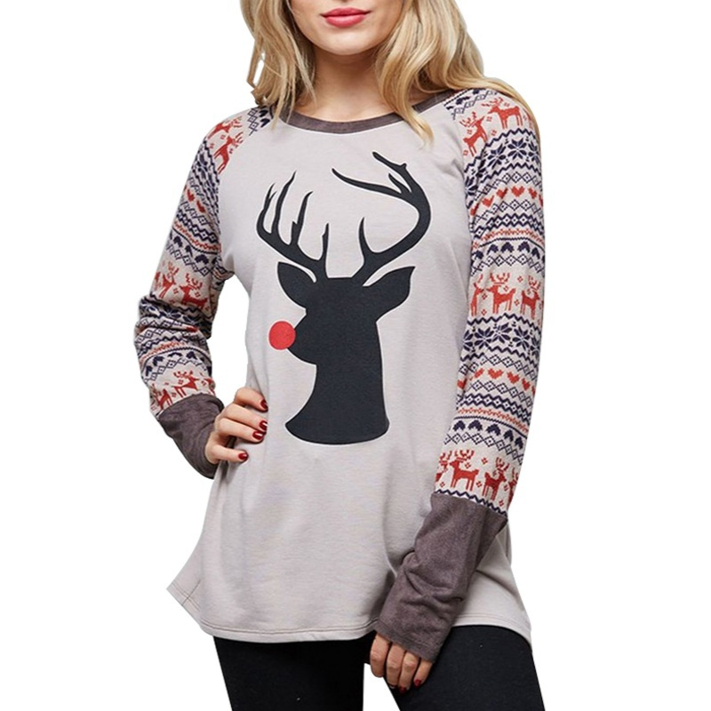 Women Spring Autumn T-shirt Christmas Deer Printed O Neck Long Sleeve Patchwork Female Tops Tees Shirt Casual Loose Cotton Tops ...