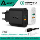 AUKEY 30W 2 Ports Mobile Phone Charger QC 2.0 Quick Charge USB Wall Charger Dual Port Universal Travel Fast Charging for phones