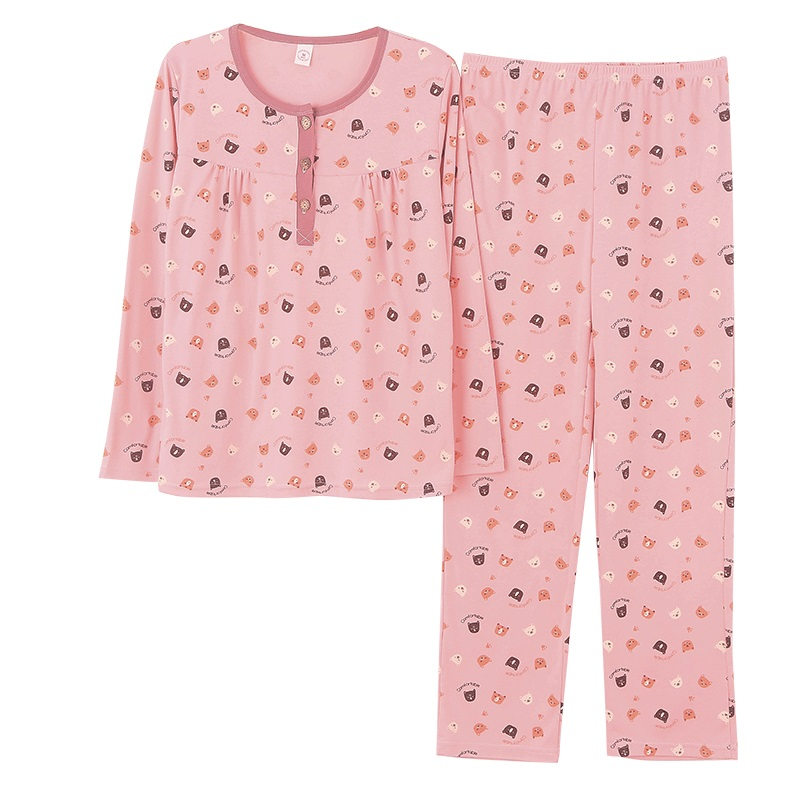265c429bb1 Aliexpress.com   Buy Autumn Winter Pajama Sets Women s Cartoon Print Long  Sleeves Pajama Sweet Cute Female Loose Sleepwear Plus Size M 3XL from  Reliable ...
