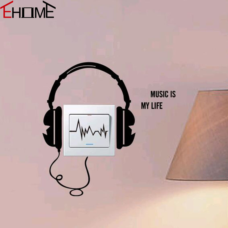 ehome music is my life wall stickers kids rooms wall decor creative headphone wall decals - Music Wall Decor