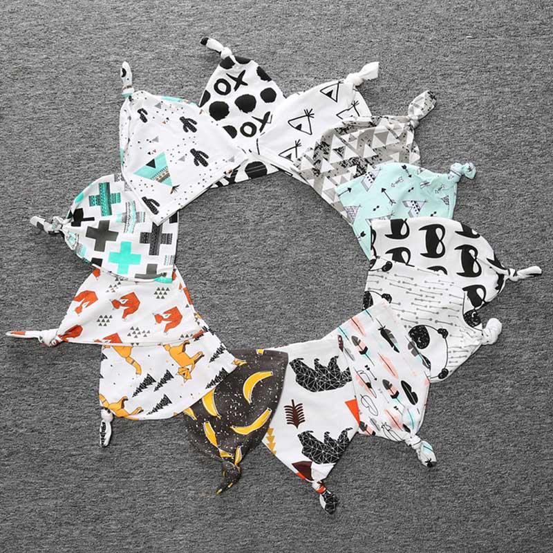 2018 Summer Autumn Thin Crochet Baby Hat Girls Panda Pattern Cute Printing Patchwork Baby Boys Caps 0-3Y Cotton Kids Beanie