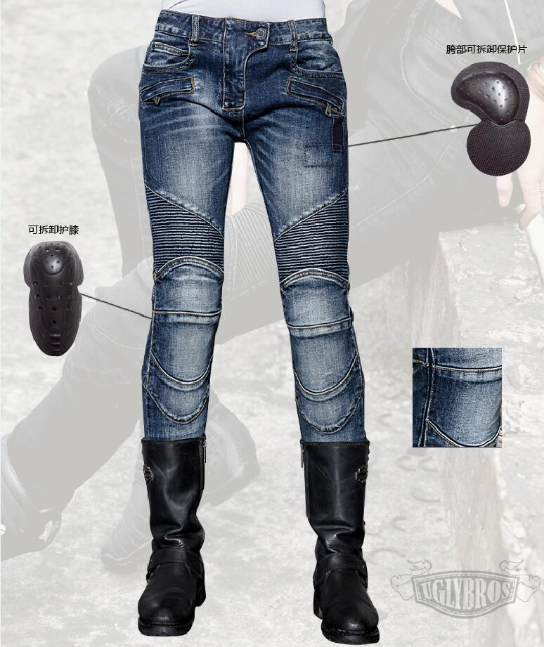 Free Shipping 2018 women s jeans Uglybros Featherbed Women Jeans motorcycle protection pants racing pants road