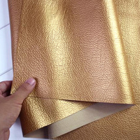 Golden Faux Leather PU Leather Fabric Sewing Artificial Leather For Diy Bag Material Sold BY THE